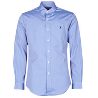 Clothing Men Long-sleeved shirts Polo Ralph Lauren CHEMISE AJUSTEE EN POPLINE DE COTON COL BOUTONNE  LOGO PONY PLAY Blue