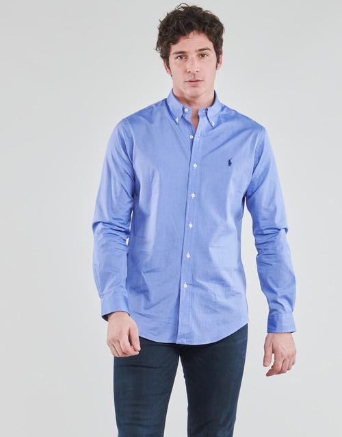 Clothing Men Long-sleeved shirts Polo Ralph Lauren CHEMISE AJUSTEE EN POPLINE DE COTON COL BOUTONNE  LOGO PONY PLAY Blue