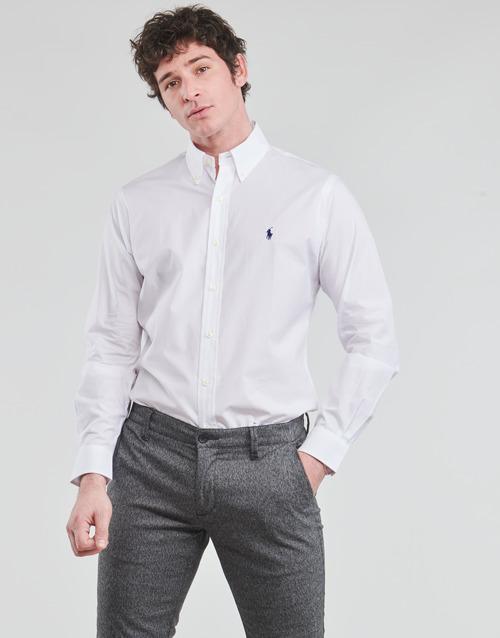 Clothing Men Long-sleeved shirts Polo Ralph Lauren CHEMISE AJUSTEE EN POPLINE DE COTON COL BOUTONNE  LOGO PONY PLAY White