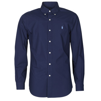 Clothing Men Long-sleeved shirts Polo Ralph Lauren CHEMISE AJUSTEE EN POPLINE DE COTON COL BOUTONNE  LOGO PONY PLAY Marine