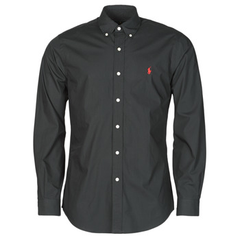 Clothing Men Long-sleeved shirts Polo Ralph Lauren CHEMISE AJUSTEE EN POPLINE DE COTON COL BOUTONNE  LOGO PONY PLAY Black