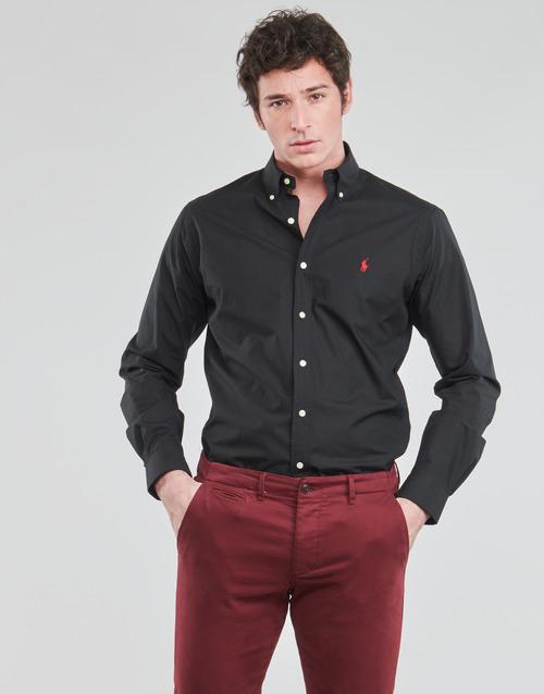 Clothing Men Long-sleeved shirts Polo Ralph Lauren CHEMISE AJUSTEE EN POPLINE DE COTON COL BOUTONNE  LOGO PONY PLAY Black