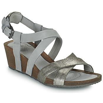 Shoes Women Sandals Teva MAHONIA WEDGE CROSS STRAP ML Grey / Metal