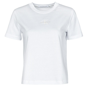 Clothing Women Short-sleeved t-shirts Calvin Klein Jeans MONOGRAM LOGO TEE White