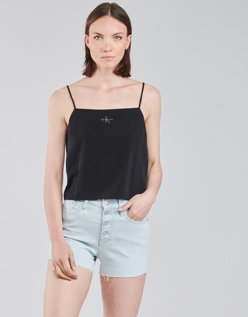 Clothing Women Tops / Blouses Calvin Klein Jeans MONOGRAM CAMI TOP Black