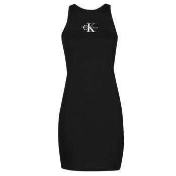 Clothing Women Short Dresses Calvin Klein Jeans MONOGRAM TANK DRESS Black
