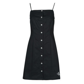 Clothing Women Short Dresses Calvin Klein Jeans COTTON TWILL BUTTON DRESS Black