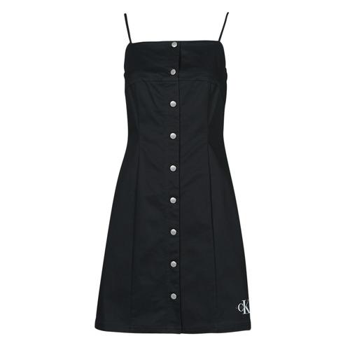 Clothing Women Short Dresses Calvin Klein Jeans COTTON TWILL BUTTON DRESS Black
