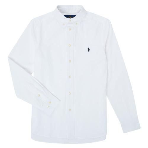 Clothing Boy Long-sleeved shirts Polo Ralph Lauren TOUNIA White