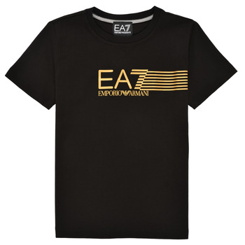 Clothing Boy Short-sleeved t-shirts Emporio Armani EA7 3KBT54-BJ02Z-1200 Black / Gold