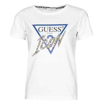 Clothing Women Short-sleeved t-shirts Guess SS CN ICON TEE White