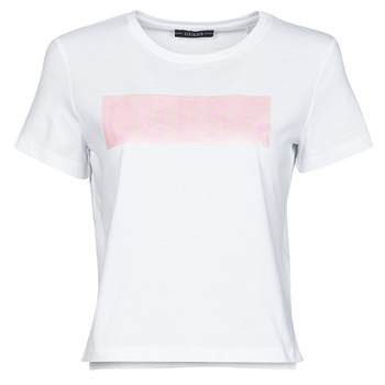 Clothing Women Short-sleeved t-shirts Guess SS CN ADRIA TEE White / Pink