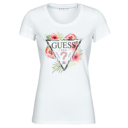 Clothing Women Short-sleeved t-shirts Guess SS CN REBECCA TEE White / Multicolour