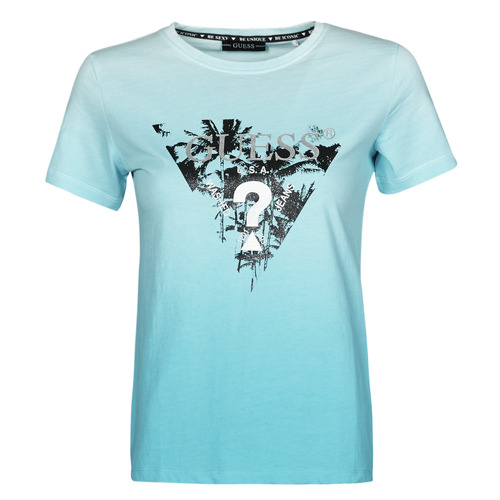 Clothing Women Short-sleeved t-shirts Guess SS CN PALMS TEE Blue
