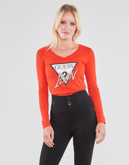 Clothing Women Long sleeved tee-shirts Guess LS VN ICON TEE Red