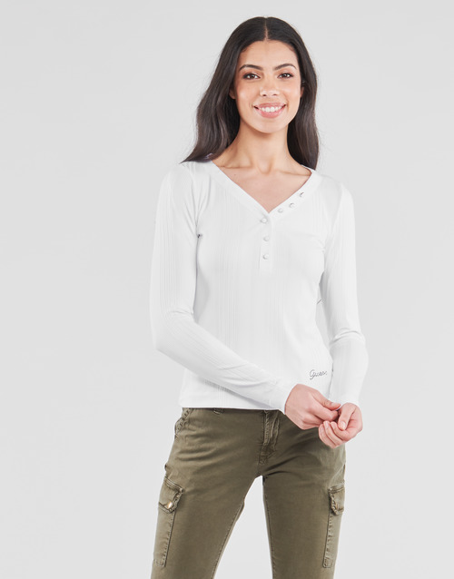 Clothing Women Long sleeved tee-shirts Guess LS URSULA TOP White