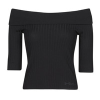 Clothing Women Long sleeved tee-shirts Guess DAYNA OFF SHOULDER SWTR Black