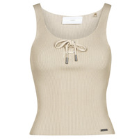 Clothing Women Tops / Sleeveless T-shirts Guess ANNIS TIE TOP Beige