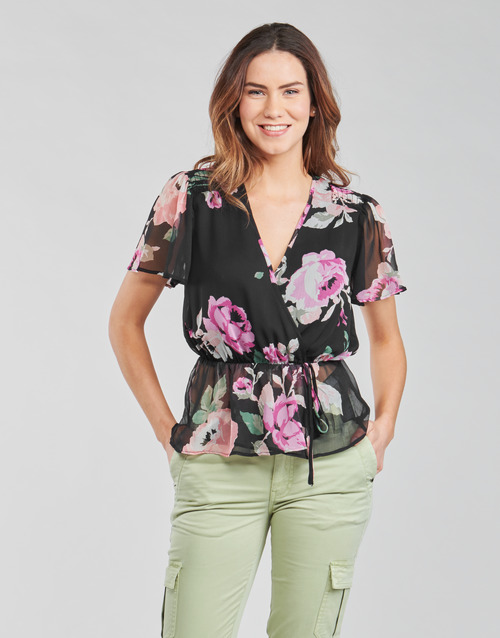 Clothing Women Tops / Blouses Guess SS NEREA TOP Black / Multicolour