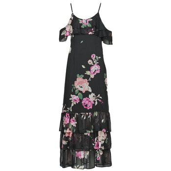 Clothing Women Long Dresses Guess AGATHE DRESS Black / Multicolour