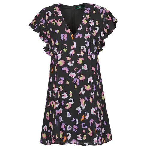 Clothing Women Short Dresses Guess AYAR DRESS Black / Multicolour