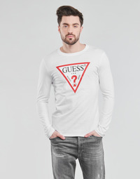 Clothing Men Long sleeved tee-shirts Guess CN LS ORIGINAL LOGO TEE White