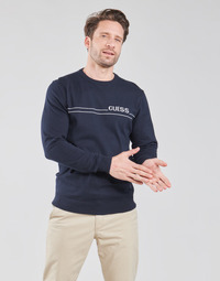 Clothing Men Jumpers Guess LS CN LOGO 12 GG Marine