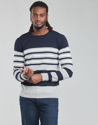 Clothing Men Jumpers Guess JUSTYN LS CN STRIPED 12 GG Grey / White / Blue