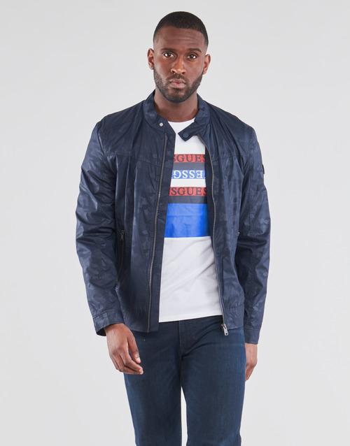 Clothing Men Jackets Guess STRETCH BIKER Marine / Camo