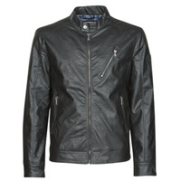 Clothing Men Leather jackets / Imitation leather Guess ECO LEATER VINTAGE BIKER Black