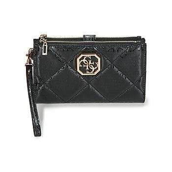 Bags Women Wallets Guess DILLA DOUBLE ZIP ORGANIZER Black