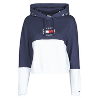 Clothing Women Sweaters Tommy Jeans COLOR BLOCK HOODIE Marine / White