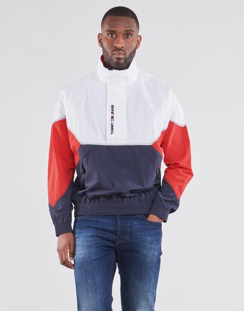 Clothing Men Jackets Tommy Jeans TJM LIGHTWEIGHT POPOVER JACKET White / Red / Marine