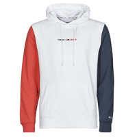 Clothing Men Sweaters Tommy Jeans TJM HALF AND HALF HOODIE Marine / White / Red