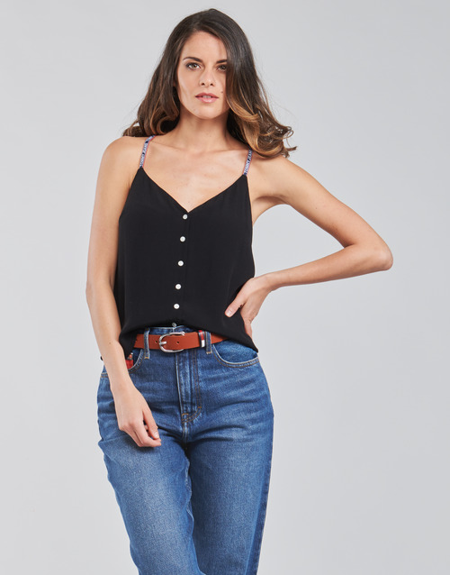 Clothing Women Tops / Blouses Tommy Jeans TJW CAMI TOP BUTTON THRU Black