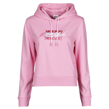 Clothing Women Sweaters Tommy Jeans TJW CROPPED TOMMY FLAG HOODIE Pink