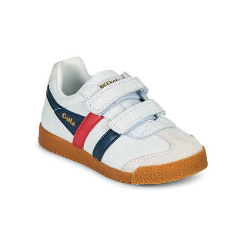 Shoes Children Low top trainers Gola HARRIER LEATHER VELCRO White / Marine / Red