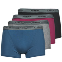 Underwear Men Boxer shorts Athena BASIC COTON  X4 Grey / Bordeaux / Blue / Black