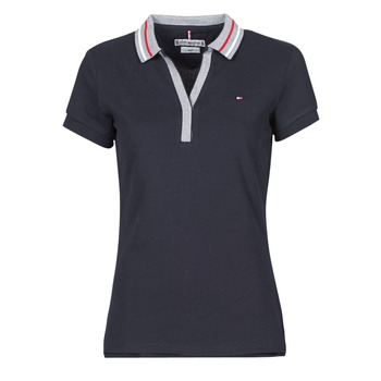 Clothing Women Short-sleeved polo shirts Tommy Hilfiger SLIM TIPPING POLO SS Marine