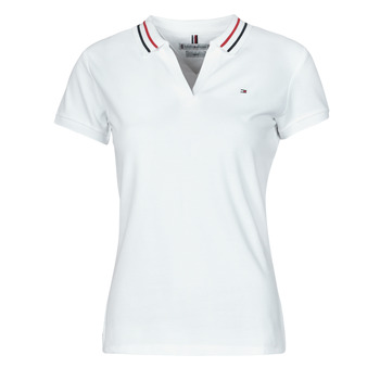 Clothing Women Short-sleeved polo shirts Tommy Hilfiger SLIM TIPPING POLO SS White