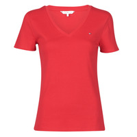 Clothing Women Short-sleeved t-shirts Tommy Hilfiger SP SLIM SOLID V-NK TOP SS Red
