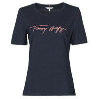 Clothing Women Short-sleeved t-shirts Tommy Hilfiger REGULAR SCRIPT OPEN-NK TEE SS Marine