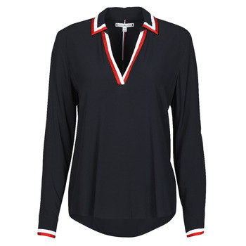 Clothing Women Tops / Blouses Tommy Hilfiger VISCOSE HER POPOVER BLOUSE LS Marine