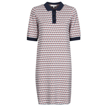 Clothing Women Short Dresses Tommy Hilfiger TH CUBE SHIFT SHORT DRESS SS White / Red / Marine