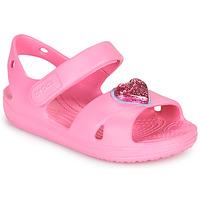 Shoes Girl Sandals Crocs CLASSICCROSSSTRAPCHARMSANDAL T Pink