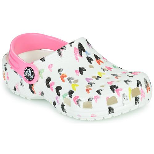 Shoes Girl Clogs Crocs CLASSIC HEART PRINT CLOG K White
