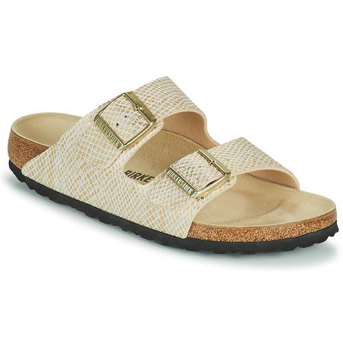 Shoes Women Mules Birkenstock ARIZONA Gold / White