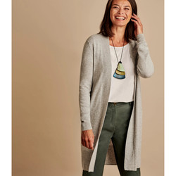 Clothing Women Jackets / Cardigans Woolovers Cashmere And Merino Edge To Edge Long Cardigan Grey