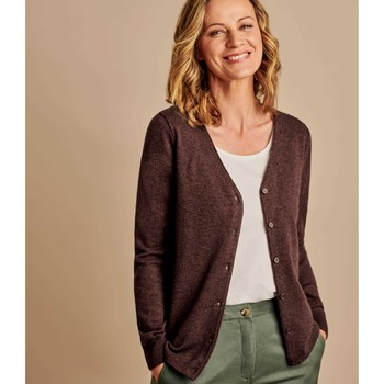Clothing Women Jackets / Cardigans Woolovers Cashmere Merino Classic V Neck Cardigan Brown
