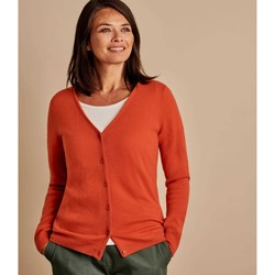 Clothing Women Jackets / Cardigans Woolovers Cashmere Merino Classic V Neck Cardigan Orange